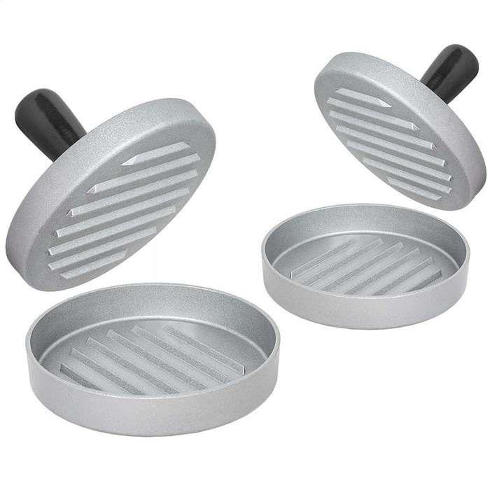 TECTAKE Lot de 2 Moules à Steak haché en Fonte d'Aluminium Ø 12 cm  - Poignée Noir