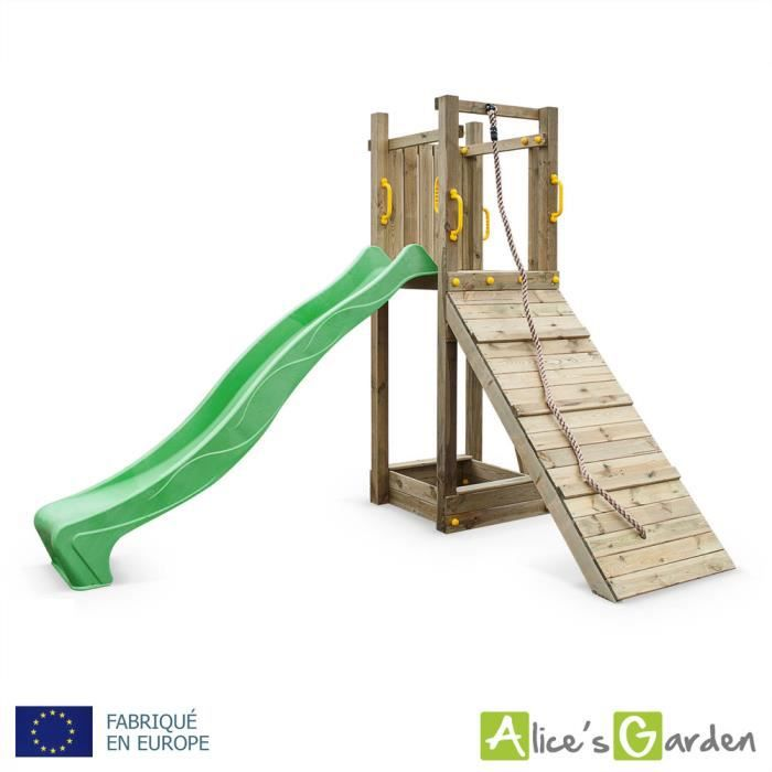 aire de jeux en bois suez plateforme avec toboggan bac sable rampe corde tour de jeu. Black Bedroom Furniture Sets. Home Design Ideas