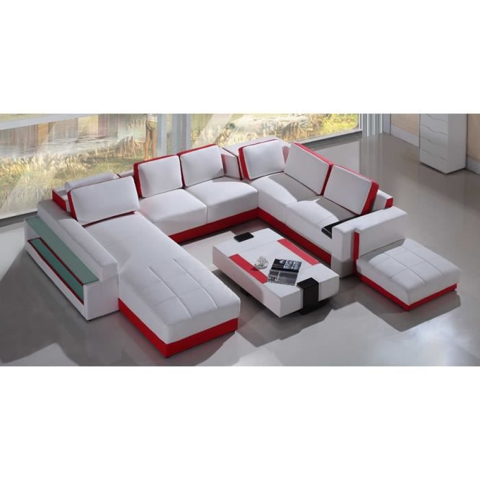 grand canape d 39 angle panoramique roug et blanc nyla achat vente canap sofa divan. Black Bedroom Furniture Sets. Home Design Ideas