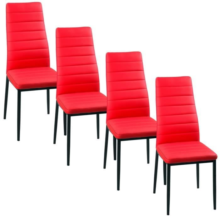 lot de 4 chaises rouge iris achat vente chaise rouge cdiscount. Black Bedroom Furniture Sets. Home Design Ideas