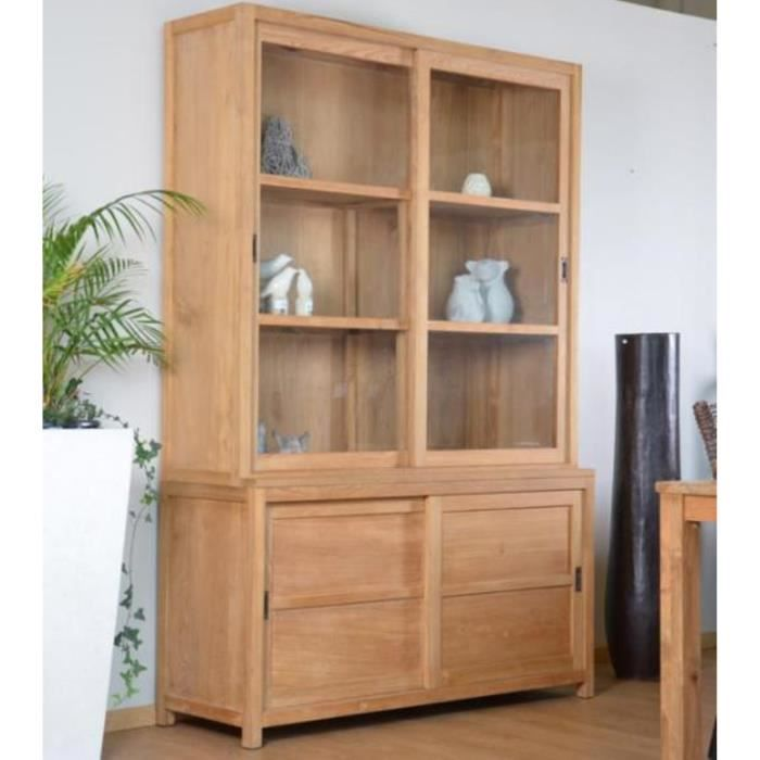 meuble avec vitrine vaisselier teck walk natura 140 cm achat vente vitrine argentier. Black Bedroom Furniture Sets. Home Design Ideas