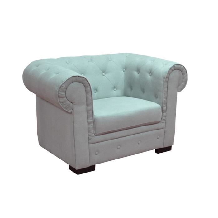 fauteuil chesterfield en tissu gris achat vente. Black Bedroom Furniture Sets. Home Design Ideas