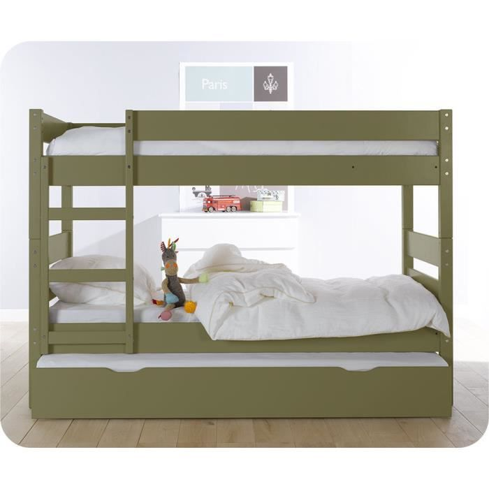 lit superpos enfant 1 2 3 couleur olive avec s achat. Black Bedroom Furniture Sets. Home Design Ideas