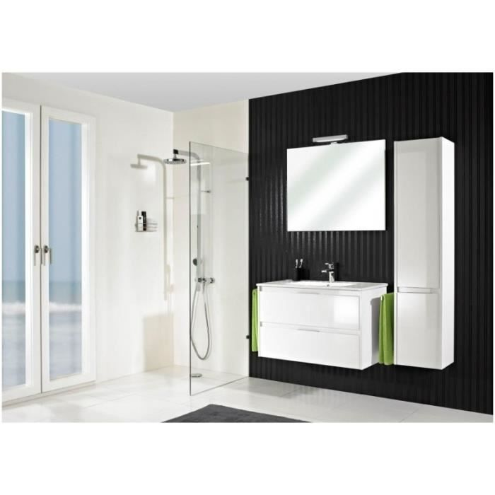 meuble suspendu salle de bain calypso 90 laqu blanc brillant 90 cm c ramique blanche 46 5 cm. Black Bedroom Furniture Sets. Home Design Ideas