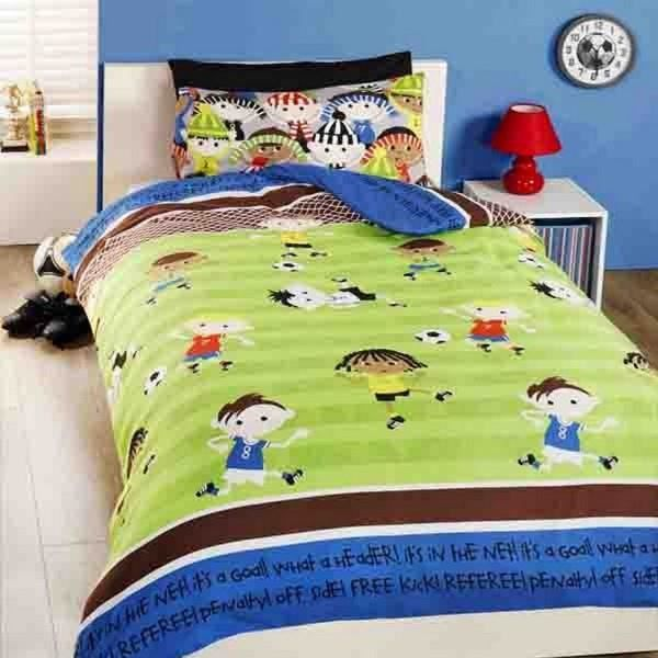 parure de lit enfant football achat vente parure de lit enfant football pas cher cdiscount. Black Bedroom Furniture Sets. Home Design Ideas