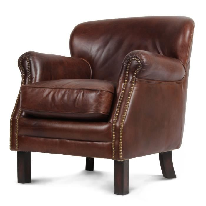 fauteuil en cuir marron havane oxford achat vente. Black Bedroom Furniture Sets. Home Design Ideas