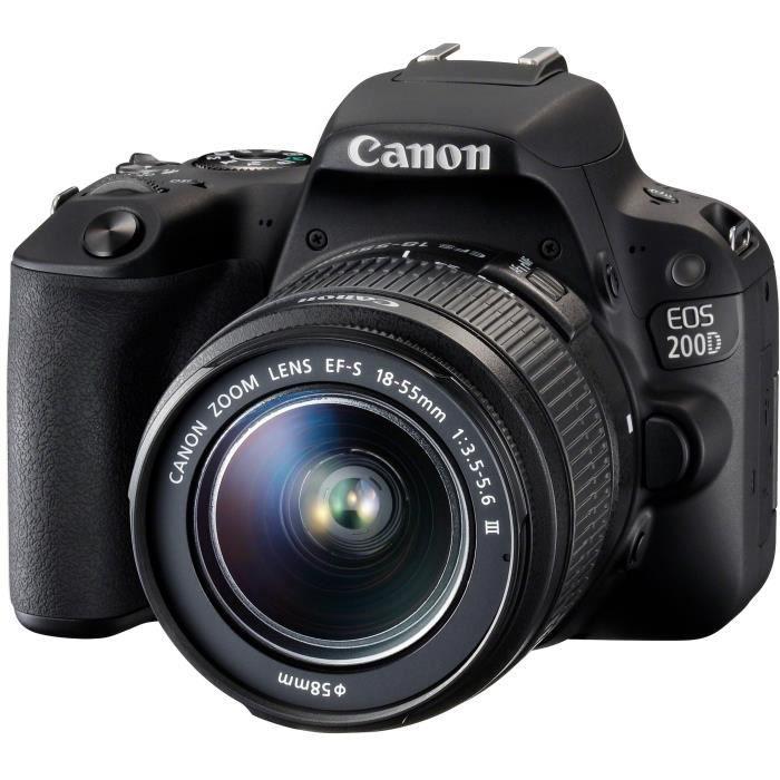 APPAREIL PHOTO RÉFLEX CANON EOS 200D + objectif EF-S 18-55mm f/3,5-5,6 I