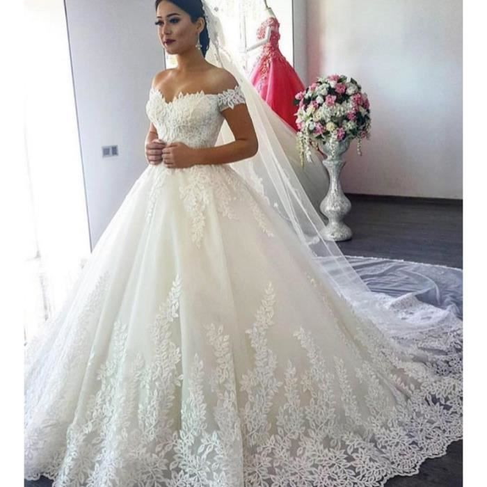 Ofeli Pleine Dentelle De Luxe Robe De Bal Robes De Mariee Moyen Orient Princesse Robe De Mariee Blanc Achat Vente Robe De Mariee Cdiscount