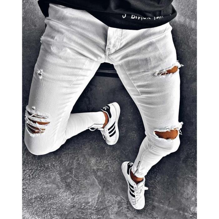 Homme Jean Stretch Jeans Vieilli Effiloché Déchiré Pantalon Pantalon Pantalon élégant