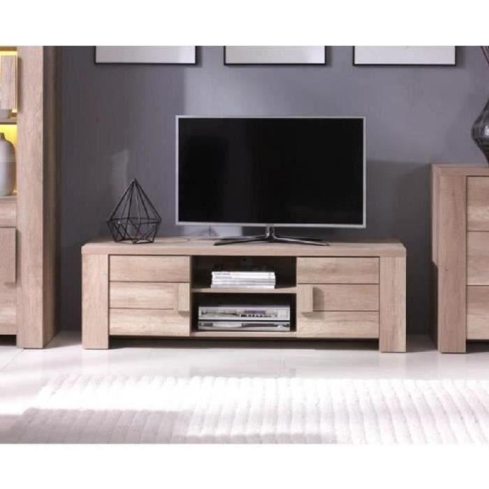 meuble tv design ferrara couleur chene ideal pour