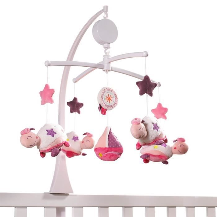 Sauthon baby deco mobile musical tess blanc achat for Mobile chambre bebe
