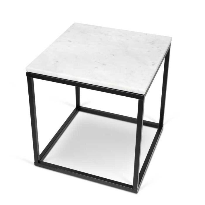 Table D Appoint Carree Metal Marbre Blanc Mulian L 50 X L 50 X