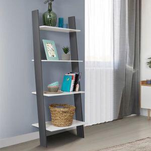 ETAGÈRE MURALE Etagère échelle scandinave 4 niveaux bois blanc et