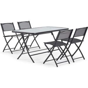 SALON DE JARDIN  Table de jardin + 4 chaises - En acier et verre -