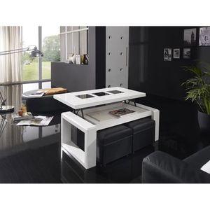 TABLE BASSE Table basse relevable blanc laqué brillant design