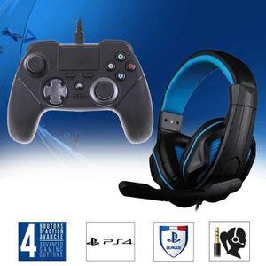 CASQUE AVEC MICROPHONE Pack Manette FPS 100 + Casque Gamer X Blue pour PS