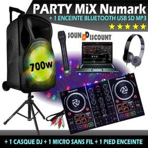 PACK SONO CONTRÔLEUR PARTY MIX NUMARK + 1 ENCEINTE 700W USB