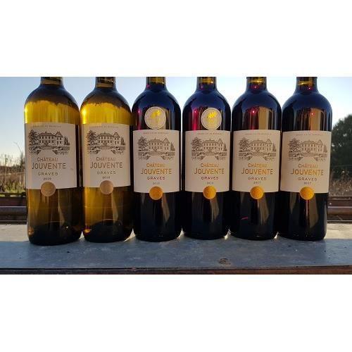 Lot de 6 bouteilles - AOC Graves - Château Jouvente - millésimes rouges 2015/2017- blanc 2019