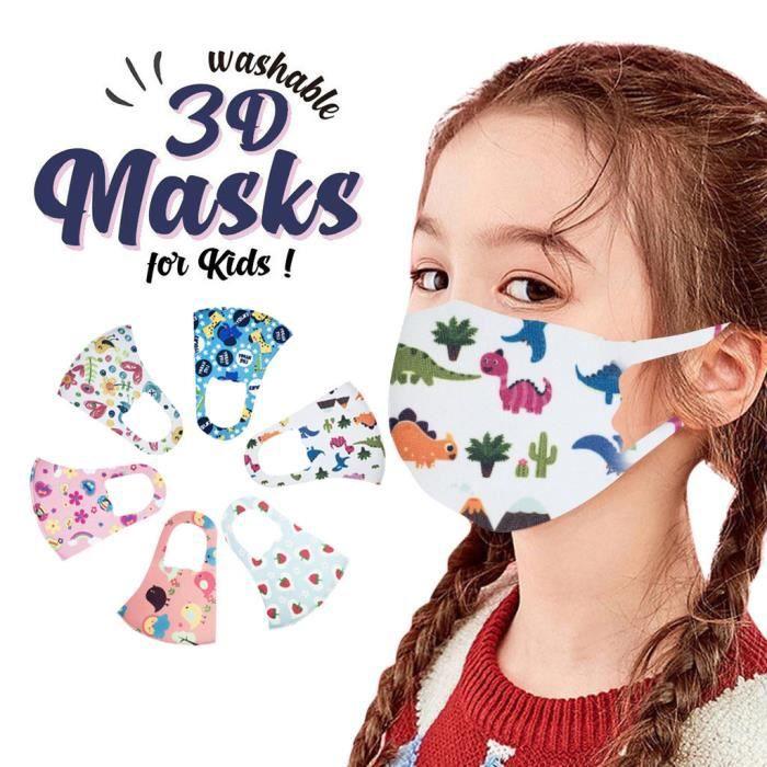 6pcs enfants enfants garçons filles bande dessinée lavable belle couverture de masque