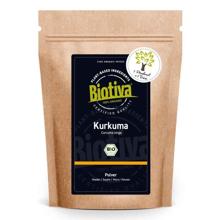 Poudre de curcuma biologique (1000g) - Racine de curcuma broyée de haute qualité (curcuma) - Superfood - Sac de conservation