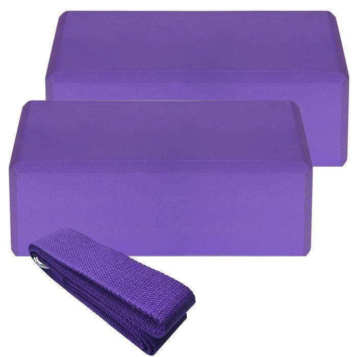 2pcs Yoga Bloquer moussant mousse brique exercice de remise en forme Stretching aide Gym + 1pcs Bande extensible violet