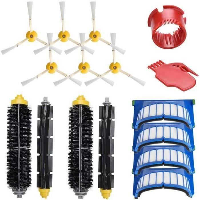 Kit Pièces Accessoires Rechange Pour iRobot Roomba 600 série 600 605 610 615 616 620 625 , Brosses Filtres de Remplacement