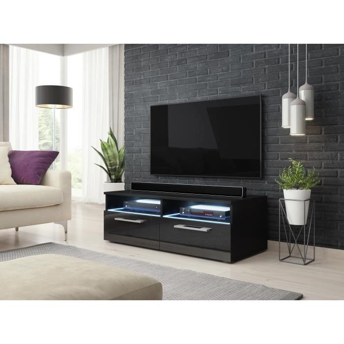 Classic Zumbi meuble TV noir / noir brillant 100cm LED