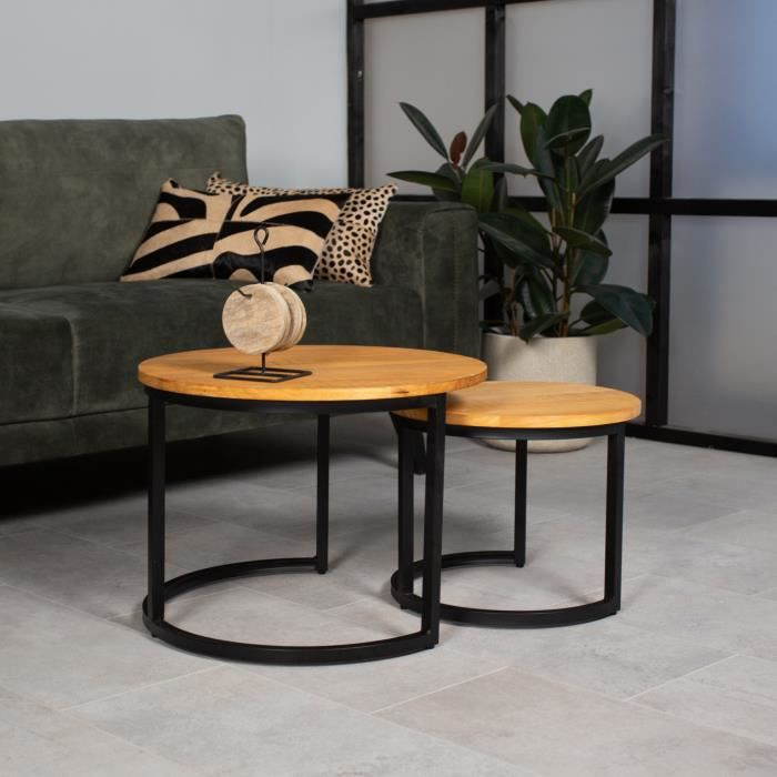 Bowen Table Basse Ø58 / 40 cm Industriel - Bois Massif