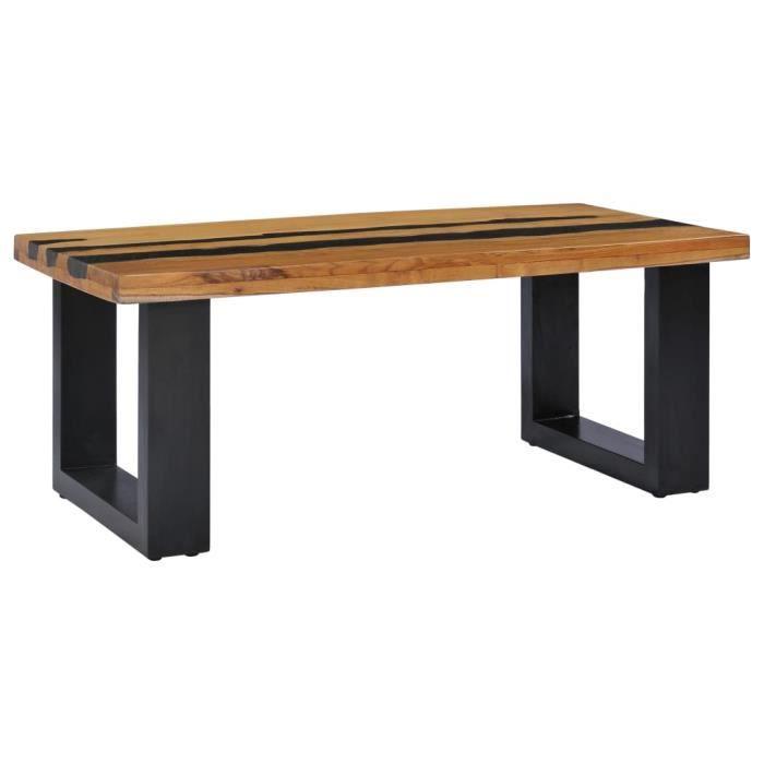 Le meilleur* -454341- Table Café - Table basse 100x50x40 cm Bois de teck massif et pierre de lave Table à thé Table de salon