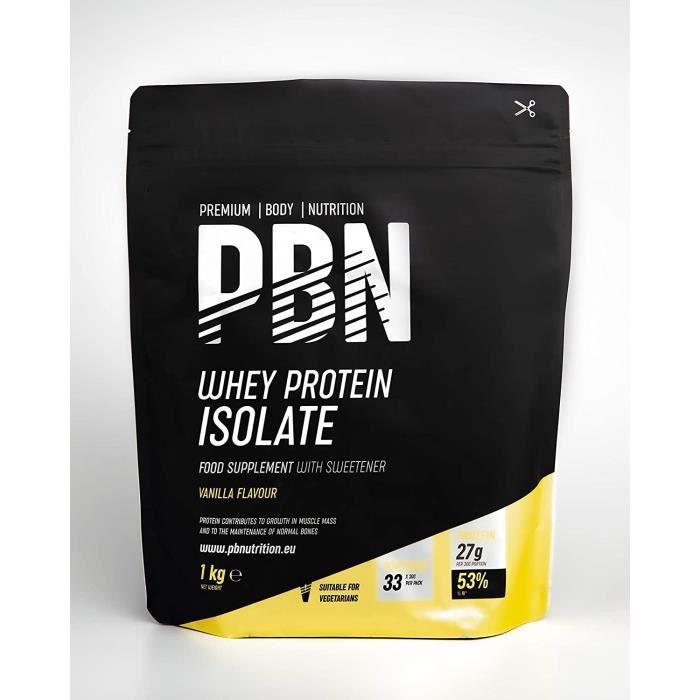 PBN Premium Body Nutrition Protéines en poudre à base d'isolat de lactosérum (Whey-ISOLAT)goût vanille33 doses1 kg 24