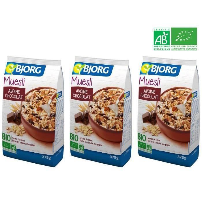 [LOT DE 3] Muesli avoine chcolat bio 375 g Bjorg