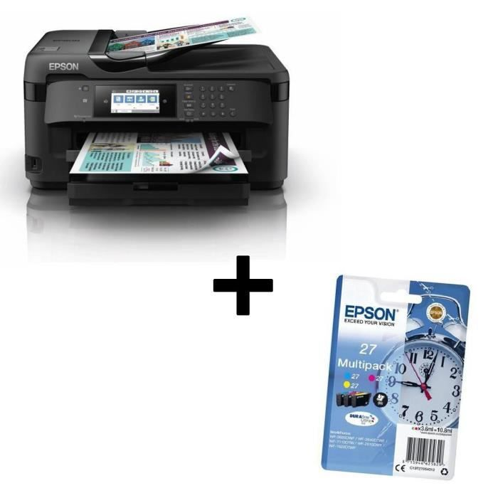 Pack EPSON Imprimante Multifonctions 4-en-1 Workforce WF-7710DWF + EPSON Multipack T2705 - Réveil - Cyan, Magenta, Jaune