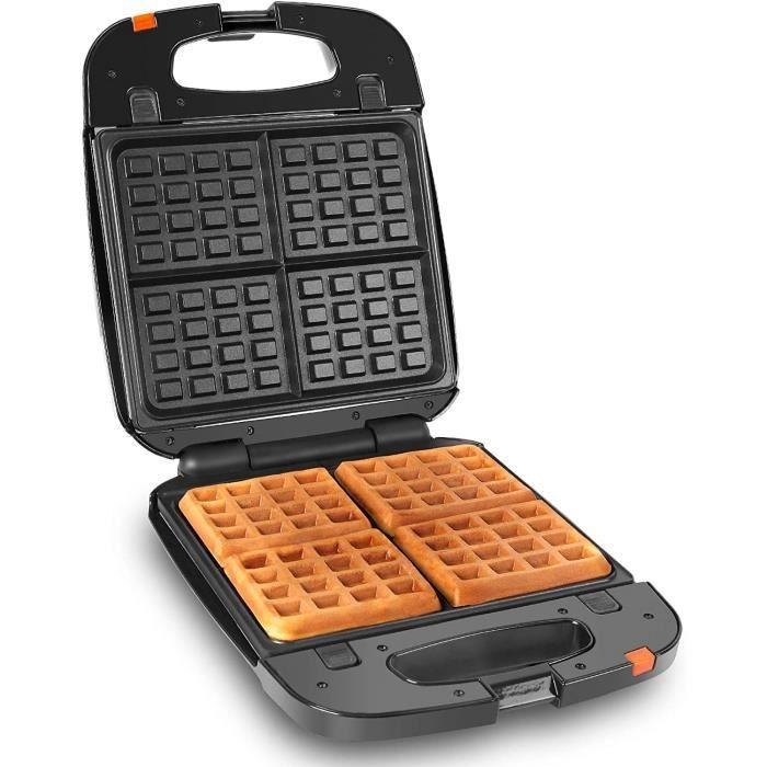 Duronic WM60 Gaufrier électrique - Plaques de cuisson antiadhésives détachables - 4 gaufres - 1200W - Poignées thermo-isolante