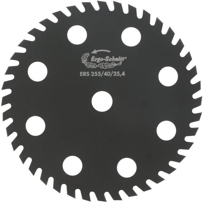 Lame 40 dents ERGO-SCHNITT pour débroussailleuse - Coupe de 255mm, alésage: 25,4mm, épaisseur: 1,6mm, Ø: coupe max : 25mm - Design u