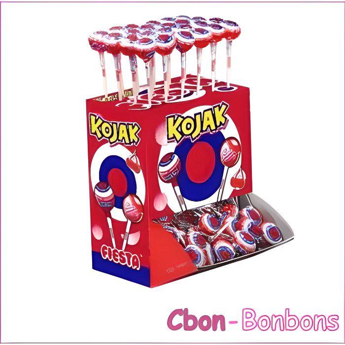 Bonbon Sucette Kojak cerise boîte de 100 sucettes