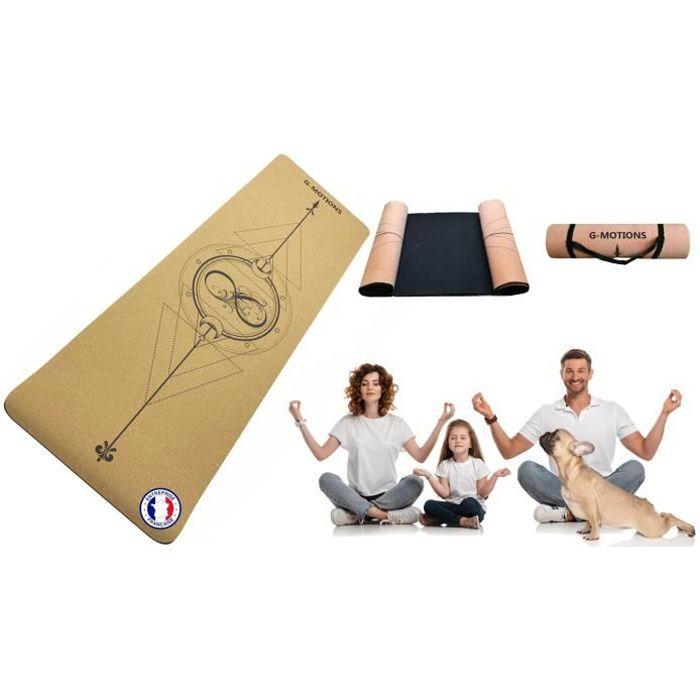 G-MOTIONS Tapis de Yoga en liège - Naturel et écologique - Taille : 183cmX65cmx7mm - Antidérapant, Hypoallergénique - Sangle