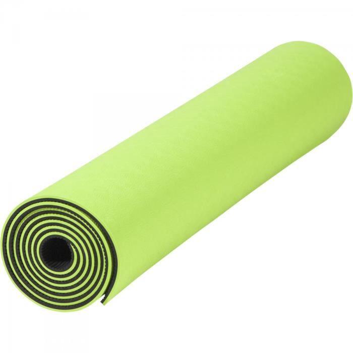 Tapis de Yoga - pilates - en TPE - double face bicolor noir et vert de 180cm x 60cm x 0,6cm