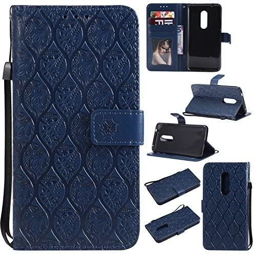 PU Housse en Cuir pour ZTE Axon 7 (5.5pouces) Smartphone Flip Cover Fonction Stand avec Fente Vintage Flower Vine Étui - Bleu foncé