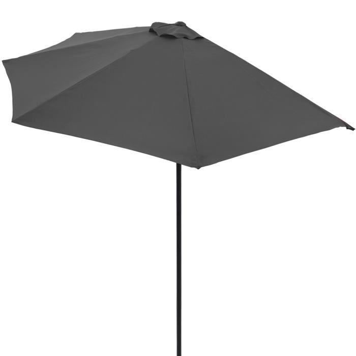 Demi-parasol anthracite avec manivelle Ø 2,7 m protection UV50+ pour Terrasse balcon