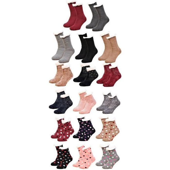 Chaussettes Femme d'intérieur Thermiques antidérapantes -Assortiment modèles photos selon arrivages- Pack de 3 Paires Chaussons