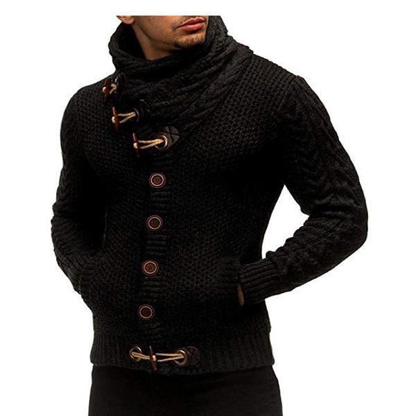 Pull long pour homme,Cardigan homme chandail mode tricoté col montant chandail hommes Clothig à manches longues couleur unie bouto