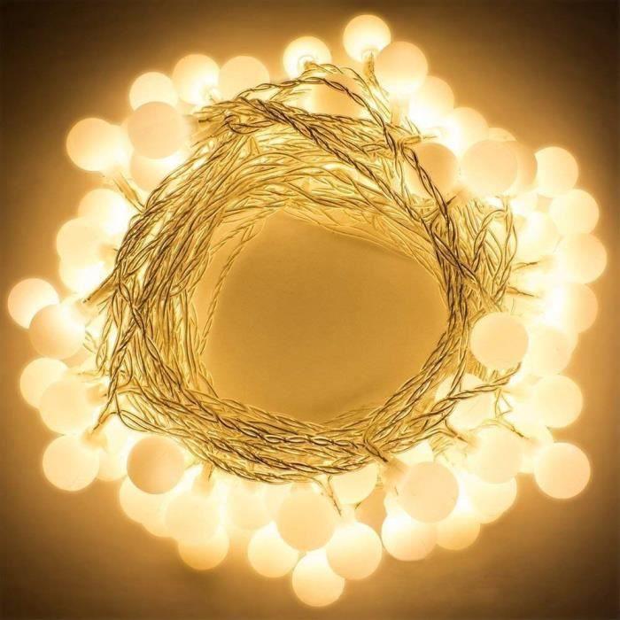 Guirlande lumineuse à piles petits boules 30 LED blanc chaud décoration romantique pour fête Noël mariage anniversaire