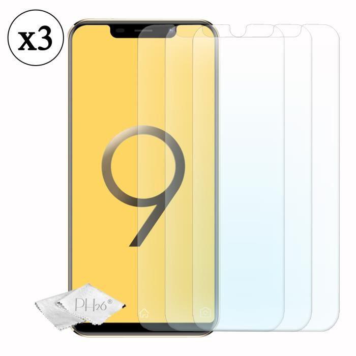 Pack 3 films de protection d'écran en verre trempé haute transparence, ultra résistant pour V-Mobile S9 (2019)