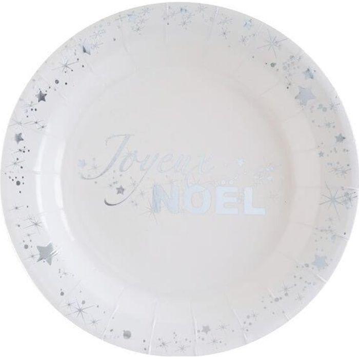 Petite assiette joyeux noël argentée et blanche (x10) R/5886 Matière carton