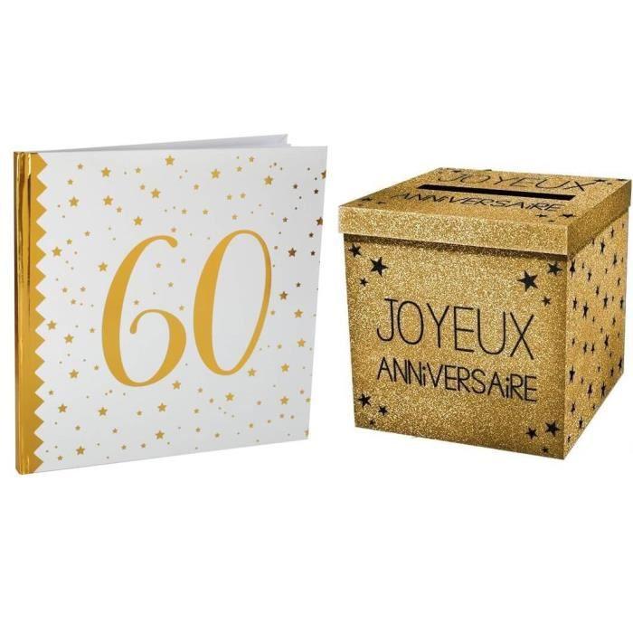 1 Pack tirelire et livre d'or anniversaire 60ans blanc et or R/6185-URNEP00OR