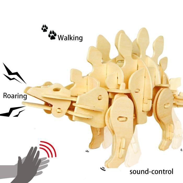 3D Puzzle Jeu d'Assemblage Dinosaures Modèle Stégosaure Contrôle Sonore Bois Bricolage Kit de Construction Enfant Jouet Cadeaux Noël