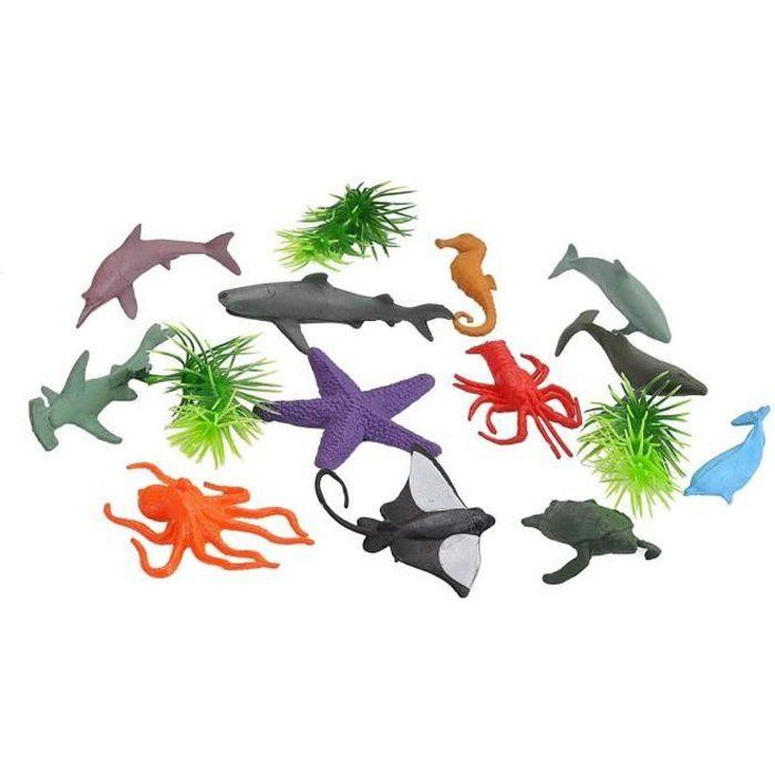 Set Animaux Aquatiques - 15 Figurines - Requin - Raie - Homard - Hippocampe - Etoile De Mer - Jouets Enfant - Zoo - Monde Miniatures