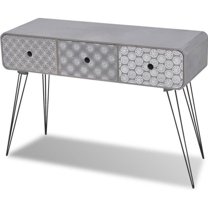 magnifique commode table d 39 entree a 3 tiroirs gris achat. Black Bedroom Furniture Sets. Home Design Ideas