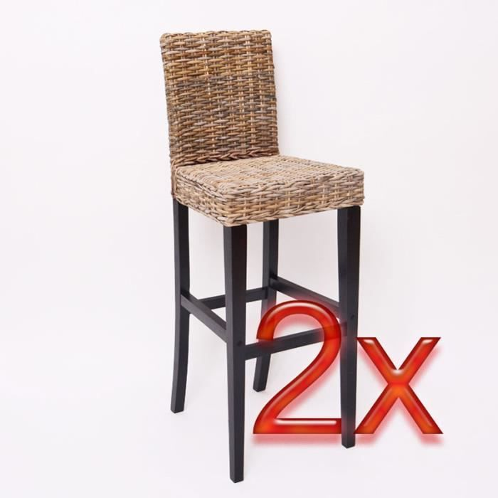 lot de 2 tabourets de bar en rotin kubu achat vente. Black Bedroom Furniture Sets. Home Design Ideas