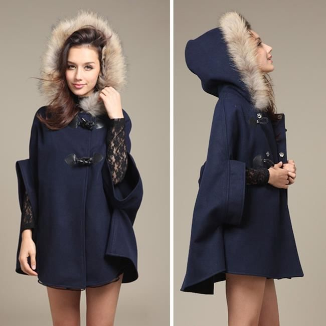 poncho cape manteau veste femme bleu classerobes bleu achat vente manteau caban. Black Bedroom Furniture Sets. Home Design Ideas